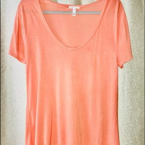 Leith coral colored hi-low, oversized short sleeve